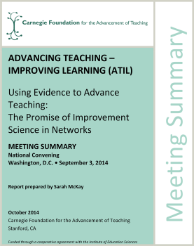 Using Evidence to Advance Teaching: The Promise of Improvement Science in Networks