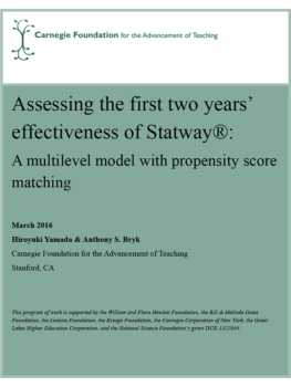 Assessing the First Two Years' Effectiveness of Statway:  A Multilevel Model with Propensity Score Matching