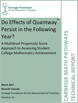 Do Effects of Quantway® Persist in the Following Year? A Multilevel Propensity Score Approach to Assessing Student College Mathematics Achievement