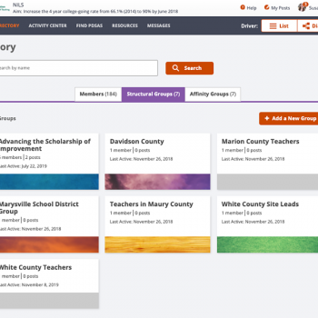 Browse listings of network members and groups in the Directory.